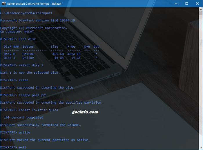 Tạo USB boot thủ công bằng lệnh CMD