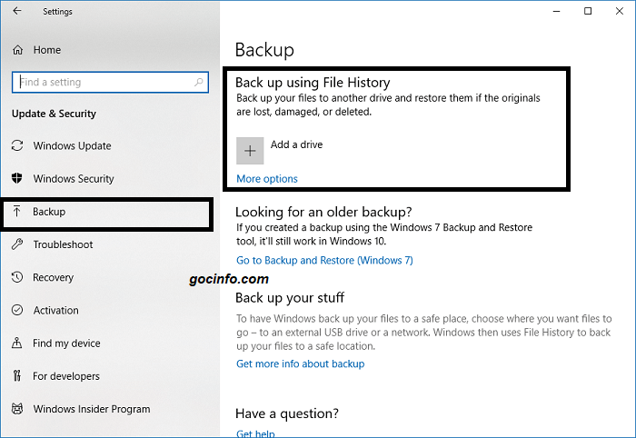 Cách Backup dữ liệu trên Windows 10 với File History