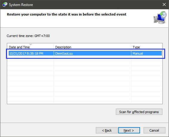 Hướng dẫn tạo, sử dụng, xóa điểm khôi phục (Restore Point) Windows 10