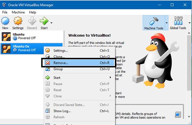 Gỡ bỏ Ubuntu trên máy ảo VirtualBox