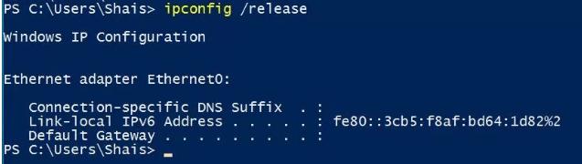Reset (làm mới) địa chỉ IP Windows 10 bằng lệnh
