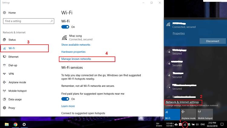 Xóa/quên mật khẩu Wifi Windows 10 bằng giao dien do hoa