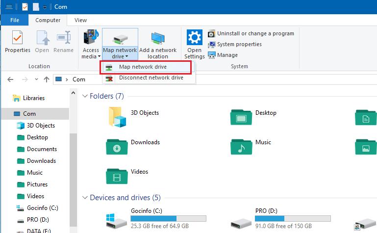 Hướng dẫn cách Map Network Drive trên Windows 10