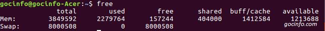 Lệnh xem thông tin bộ nhớ RAM -free