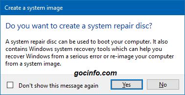 Sử dụng chức năng sao lưu System Image Backup trên Windws 10