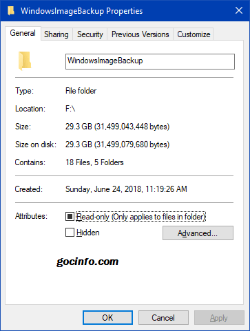 Xóa backup image trên Windows 10