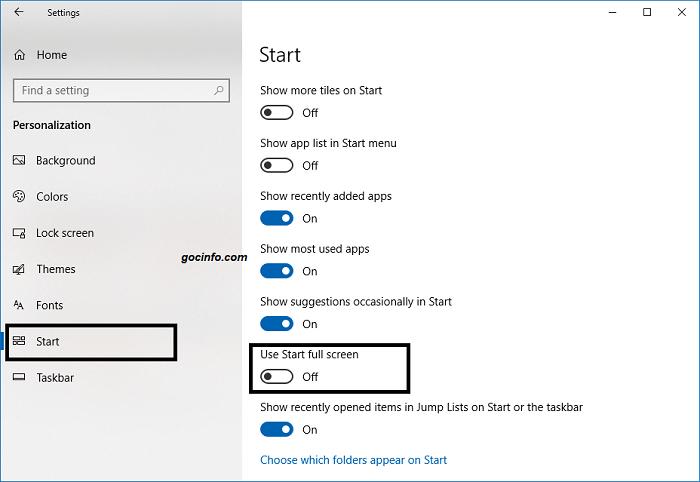 Sửa lỗi không mở được Start menu trên Windows 10 - Bật Start full screen
