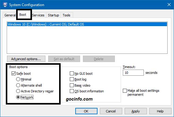 KHởi động vào Safe mode để sửa lỗi Start menu trên Windows 10
