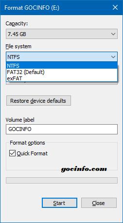Định dạng USB NTFS