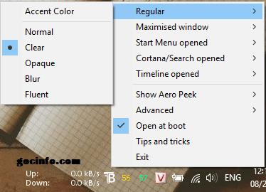 Làm thanh Taskbar trong suốt trên Windows 10