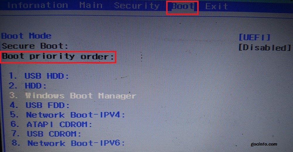 Boot priority Acer