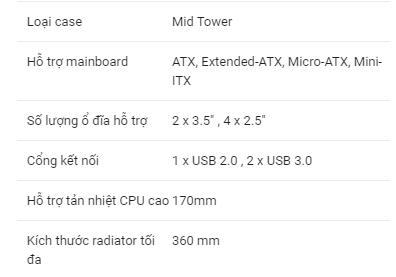 Thông số kỹ thuật khi chọn case