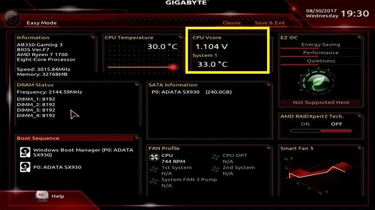 Nhiệt độ CPU trong giao diện BIOS mainboard GIGABYTE
