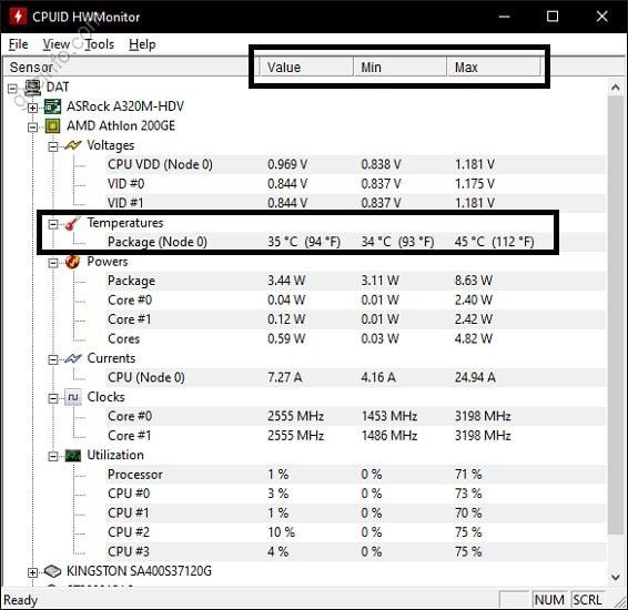 Kiểm tra nhiệt độ CPU bằng HWMonitor