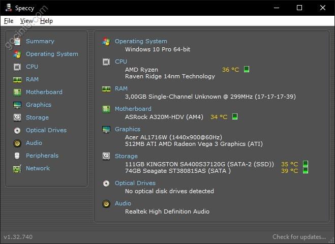 Nhiệt độ CPU, VGA,.. Speccy