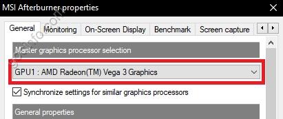 Thiết đặt MSI Afterburner để hiển thị FPS, CPU, VGA